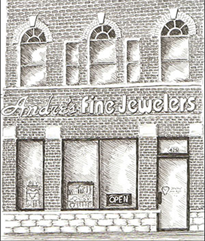 Sketch of Andres Fine Jewelers storefront in Brighton, MI