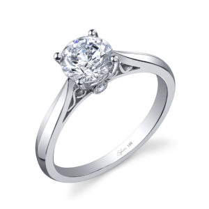 Solitaire diamond engagement ring with diamond peek-a-boo accent