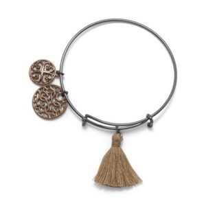 Black tone fashion bangle bracelet with chocolate charms and camel tassel
