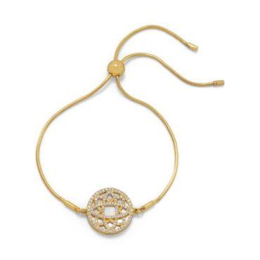 Mother of Pearl CZ Wreath Bolo Bracelet