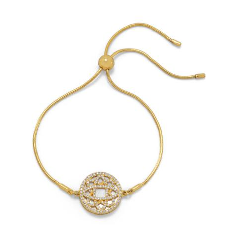 Gold-plated sterling silver bolo bracelet with mother of pearl and CZ