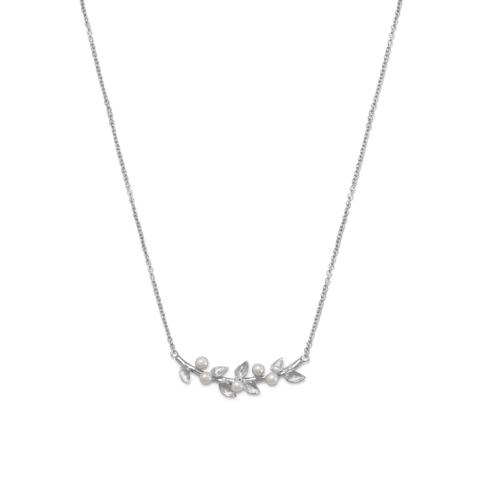 Rhodium-plated sterling silver necklace with branch and pearl detail