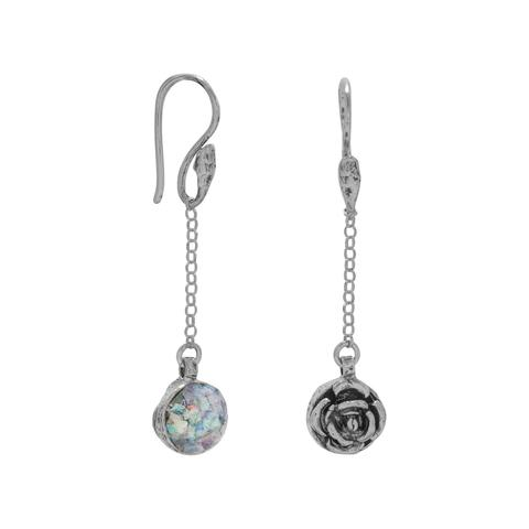 Sterling silver drop earrings with reversible rose and roman glass