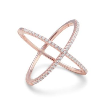 Crisscross Rose Gold Plated Sterling Silver CZ Ring