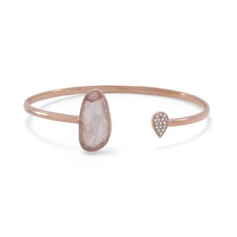 Rose gold-plated sterling silver split bangle bracelet with rose quartz
