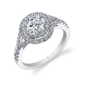 Double halo diamond engagement ring with a split shank