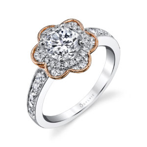 Two-tone floral themed halo diamond engagement ring