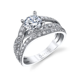 Four prong diamond engagement ring with a tri-split weaving milgrain accented shank