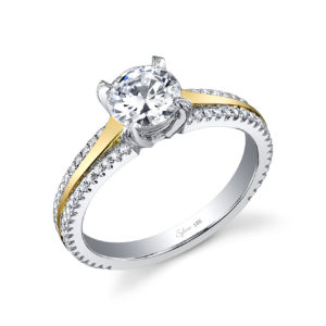 Four prong two-tone diamond engagement ring with diamond accents