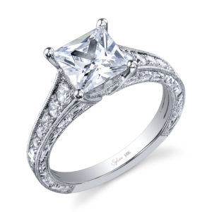 Princess cut diamond engagement ring with antique styling and diamond accent stones
