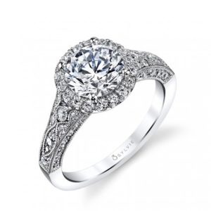 Vintage style, milgrain accented halo diamond engagement ring