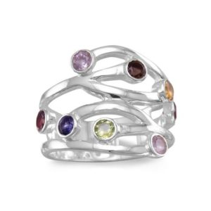 Multi color stones sterling silver ring