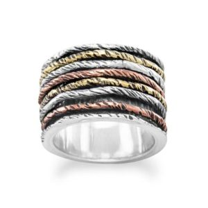 Oxidized tri color gold plated sterling silver ring
