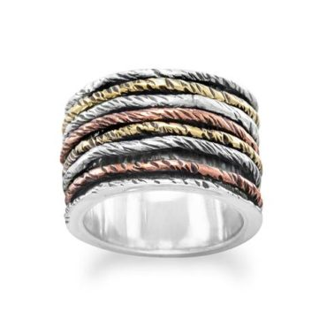 Rotating Tri Color Sterling Silver Ring