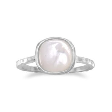 Pillow Cut Mother of Pearl Silver Ring