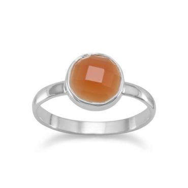 Faceted Round Carnelian Sterling Silver Ring