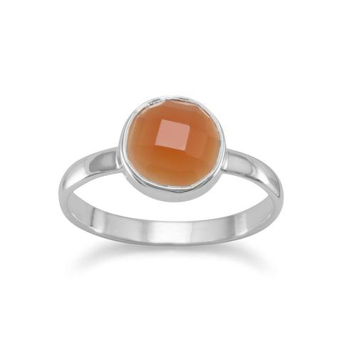 Stackable sterling silver ring with faceted round Carnelian n