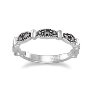Beaded Marquise Sterling Silver Marcasite ring