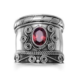 Handmade sterling silver bali style garnet ring