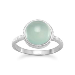 sea green cabochon chalcedony sterling silver ring