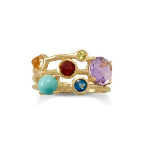 14kt gp silver multi stone ring andres fine jewelers