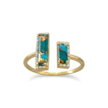 Copper Turquoise 14kt Gold Plated Sterling Silver ring