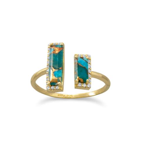 Baguette cut copper turquoise gold plated sterling silver ring