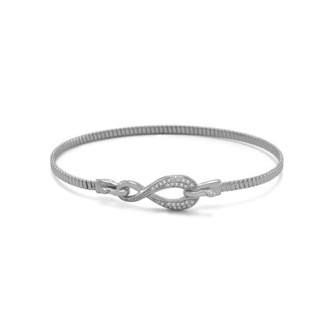 non tarnish sterling silver infinity hook bracelet set with cubic zirconia