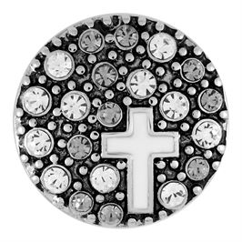This snap from Ginger Snaps© features a christian cross design amid white and neutral gems