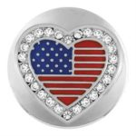 This snap from Ginger Snaps© features a heart shaped american flag surrounded by white gems