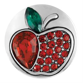 This snap from Ginger Snaps© features red gems shaped to look like an apple with a green gem leaf
