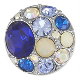 This snap from Ginger Snaps© features a medley of blue gems over a rhodium plated base