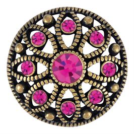 Fuchsia crystals surround thie antique brass Ginger Snaps snap