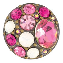 This snap from Ginger Snaps© features a medley of pink gems and white stones over a brass base