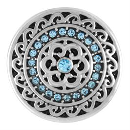 Snap by Ginger Snaps© featuring concentric circles of light blue stones and silver designs
