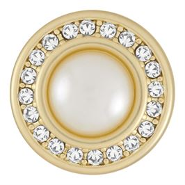 This snap from Ginger Snaps© features a mabè shape pearl surrounded by a circle of white gems over a matte gold background