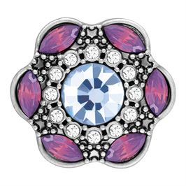 This snap from Ginger Snaps© features an array of purple and light blue stones on a brass base