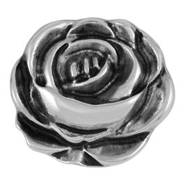 Silver toned rose snap by Ginger Snaps©