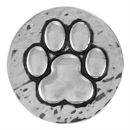 This snap from Ginger Snaps© features a prominent paw print with a hammered texture background
