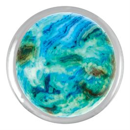 A mix of blue, green and earth tones are featured in the blue crazy lace agate snap by Ginger Snaps©