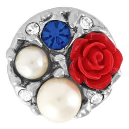 Snap by Ginger Snaps© featuring white pearls, blue and white stones and a red rose