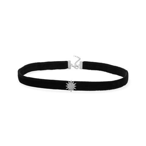 Black velvet sterling silver necklace