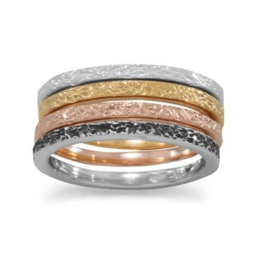 Four Band Textured Multi Color Rings