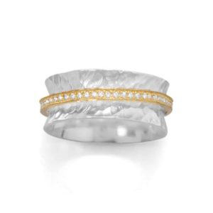 Sterling silver and gold plate cz spinner ring