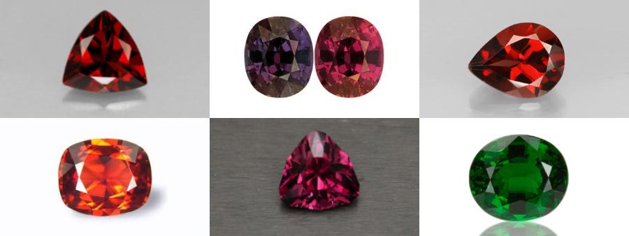 Collage of Pyrope Garnet, color changing garnet, Almandine Garnet, Spessarite Garnet and Tsavorite Garnet