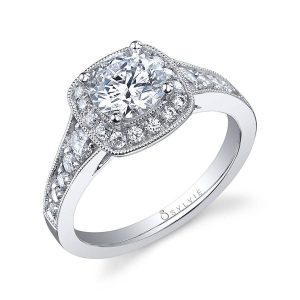 Engagement ring with a milgrain accented cushion cut shaped halo