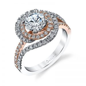 Double halo style diamond engagement ring in white and rose gold