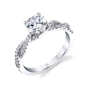 Diamond engagement ring with shank that twists over itself