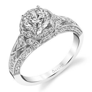 White gold vintage inspired diamond engagement ring from the Sylvie Collection