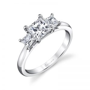 White gold three-stone diamond engagement ring from the Sylvie Collection featuring three princess cut diamonds